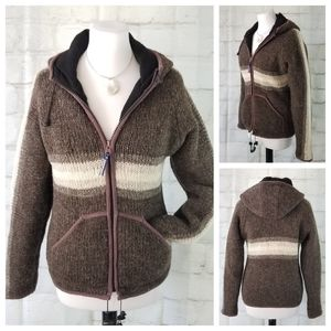 Laundromat S Wool Zip-Up Hooded Sweater Jacket